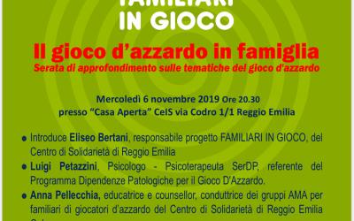 Il CEIS di Reggio Emilia organizza un momento di approfondimento sulle tematiche del gioco d'azzardo