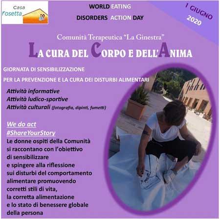 """Giornata mondiale sui disturbi alimentari: l'Ass.ne Casa Rosetta di Caltanissetta organizza l'evento """"La cura del Corpo e dell'Anima""""."""