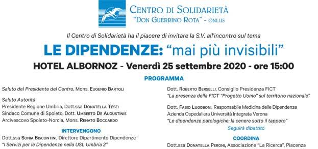 """Il Centro di Solidarietà """"Don Guerrino Rota"""" Onlus di Spoleto organizza il Convegno """"Le dipendenze: mai più invisibili"""""""