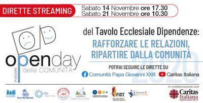 """""""Open Day delle Comunità – Rafforzare le relazioni, ripartire dalla Comunità"""": 2° streaming, sabato 21 novembre, dalle ore 10:30"""