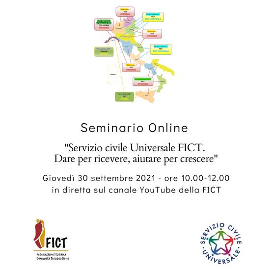 """Seminario online sul tema: """"Servizio Civile Universale FICT. Dare per ricevere, aiutare per crescere"""",  in diretta sul canale youtube della FICT"""